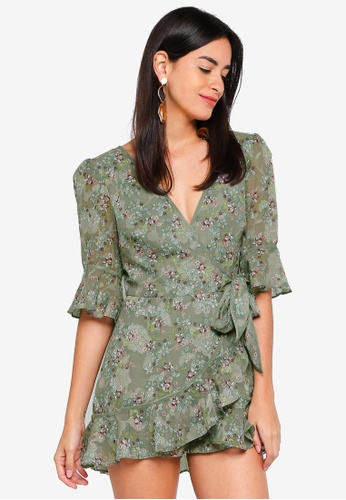 Finders Keepers green Flutter Playsuit 6AE62AA842D5FBGS_1