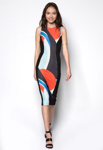 拼色貼身連身裙zalora 內衣, 服飾, 服飾