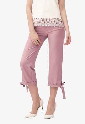 Kodz pink Tie Detail Wide-Leg Culottes 2F597AABC0DC11GS_1
