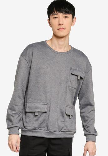 ZALORA BASICS grey Tri Pocket Sweatshirt 0C896AA645E124GS_1