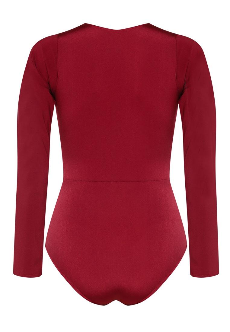 PINK Sleeve Plunge N' Delevingne Long Burgundy Swimsuit PROPER OwAZUOqxrf