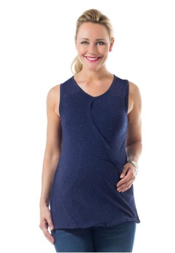 Bove by Spring Maternity navy Knitted Celyn Sleeveless Overlap Tee Navy LTN6702 BO010AA0FLLOSG_1
