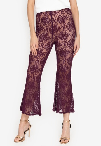 ZALORA OCCASION red Lace Flared Pants B351BAACCE12BEGS_1