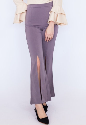 bd2c6d97ff1 Hook Clothing grey Front Slit Fitted Pants 456E0AA01AD57CGS 1. CLICK TO ZOOM