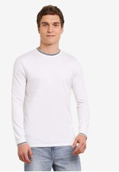 Topman white Long Sleeve White Tipped Ringer T-Shirt TO413AA0SAF6MY_1
