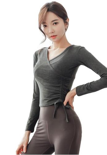 YG Fitness grey Sports Running Fitness Yoga Dance Top 23914US097D8D6GS_1