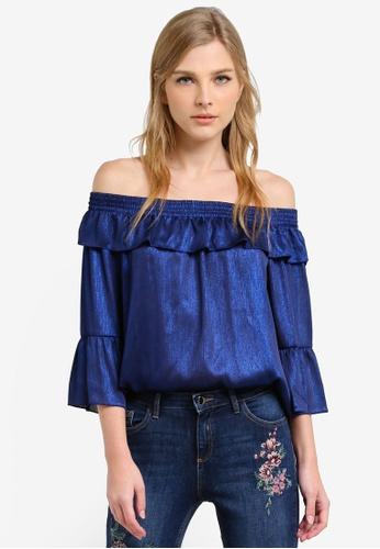 Dorothy Perkins blue Cobalt Shimmer Bardot Top DO816AA0S2IKMY_1