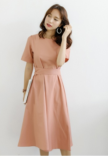 Shopsfashion pink Simply Fit and Flare Midi Dress in Coral SH656AA0F6GYSG_1