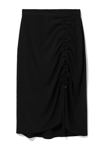b+ab black Cinched midi skirt 20C34AAA92E85AGS_1