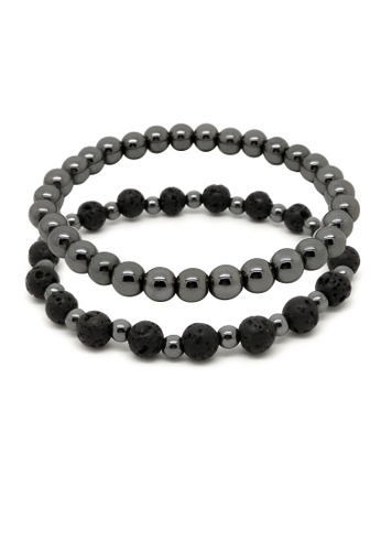 Fur Nyce black Lava Stone and Hematite Bead Bracelet Set 399A6AC256DCC0GS_1