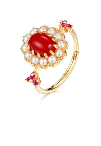 SUNSET 金色 Premium 925 Sliver Pearl Ring 4446EAC0117DE3GS_1