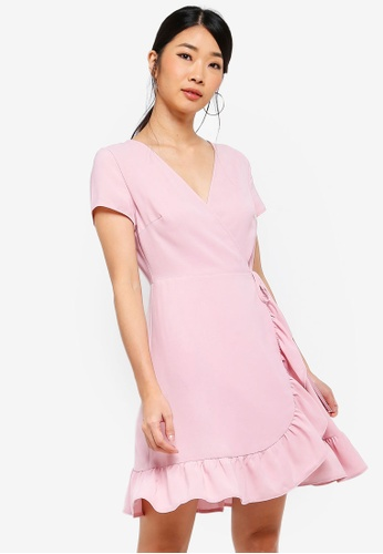 Something Borrowed pink Ruffles Hem Wrap Dress 41FDAAAA0666E4GS_1