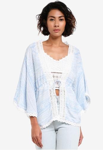 Miss Selfridge blue Blue Paisley Print Kimono MI665AA0RV26MY_1