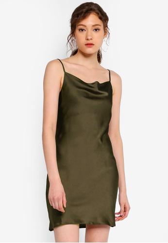 de2d6c2b76f0 Buy Miss Selfridge Khaki Cowl Neck Mini Slip Dress | ZALORA HK