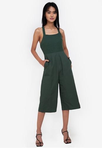 ZALORA BASICS green Eyelet Culotte Jumpsuit 5C1CAAA1BAB60BGS_1