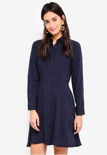 ZALORA navy Long Sleeves Fit & Flare Shirt Dress 23BAEAA6F93394GS_1