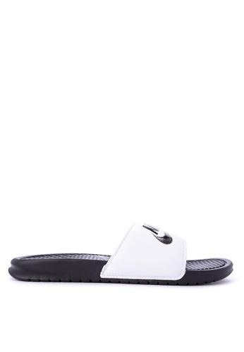"Nike black and white Men's Nike Benassi ""Just Do It."" Sandals NI126SH0KPQGPH_1"