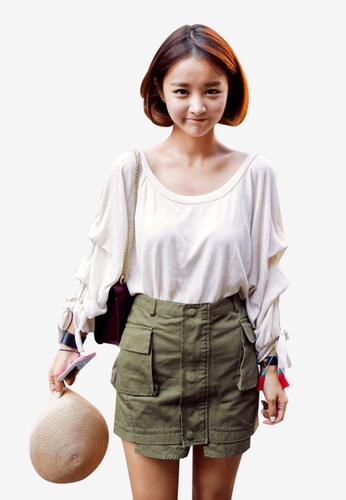 Shopsfashion beige Knitted Full Sleeve Blouse in Beige SH656AA76NJFSG_1