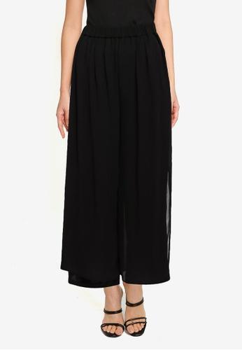 JEANASIS black Sheer Slit Hem Pants 92C09AABCA0498GS_1