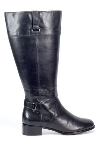 Shu Talk 黑色 簡約扣飾長皮靴 SH544SH0ABL7TW_1