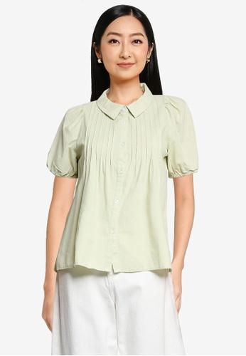 niko and ... green Pintuck Puffed Shirt 9451FAAAE99D57GS_1