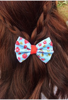 Blue Floral Printed Bow (Small)