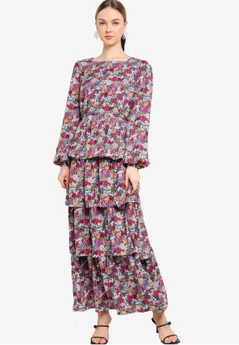 Lubna 藍色 Square Neck Layered Dress 6ACABAA5C67206GS_1