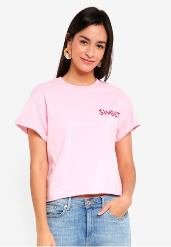 TOPSHOP pink Petite Sweet Embriodered Tee E9F51AA606BE09GS_1