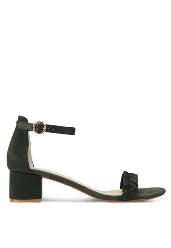 Velvet green Block Heels with Strap Detail 4AF56SHE8D0A31GS_1