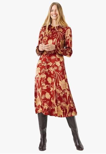 MARKS & SPENCER red Satin Floral Waisted Midi Dress 06E7DAAEA49FE5GS_1