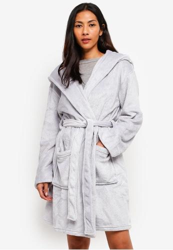 Dorothy Perkins grey Grey Pearl Hood Robe 4F334AA2DD2AD2GS_1