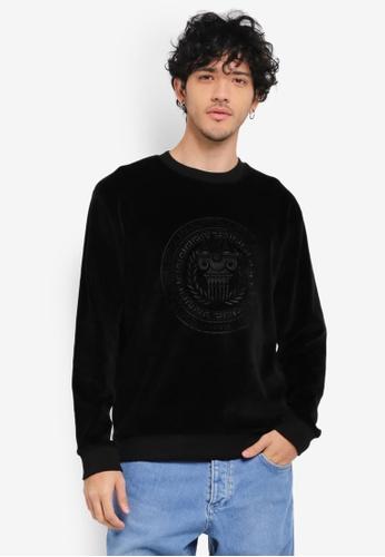 Topman black Long Sleeve Black Velour AA Embroidered Sweatshirt TO413AA0SR9BMY_1
