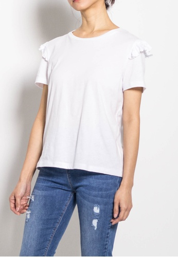 SUB white Women Short Sleeve Ruffled Basic Tee ACB34AA4CCF9D7GS_1