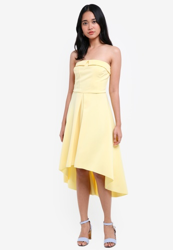 Miss Selfridge yellow Scuba Dip Back Bandeau Dress E67B0AAC990F71GS_1