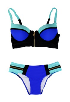 Zip It Patchwork Swimwear