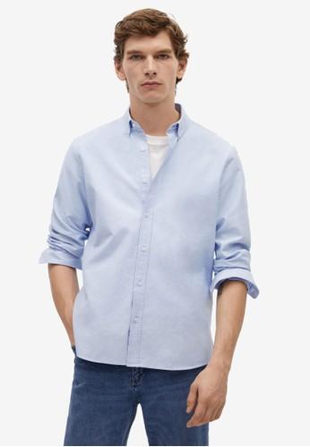 Mango Man blue Regular Fit Oxford Cotton Shirt EA117AAADA2B6DGS_1