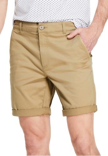 Guess brown Guess Harper Flat-Front Shorts 1DDA8AA8DB2B90GS_1