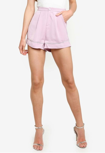 ZALORA pink and multi Contrast Piping Shorts B07F3AADD9C2C5GS_1