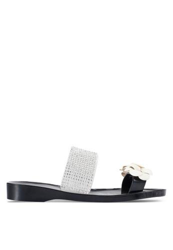 Sunnydaysweety 黑色 2018 新款閃石花卉拖鞋 A0230BK 76552SHE70C99BGS_1