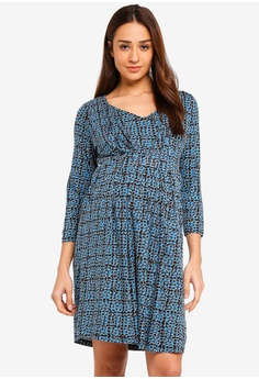 36aee19538a JoJo Maman Bébé multi Maternity Geo Pleat Tunic Dress 2D7CCAA6C67D3CGS 1