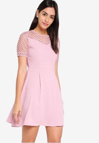 ZALORA pink Lace Fit And Flare Dress B1DE6AA384C0B6GS_1