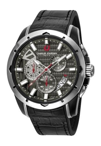 Charles Jourdan black Charles Jourdan Men CJ1045-1332C Black Silicone Leather Watch 53FF4AC0EEA616GS_1