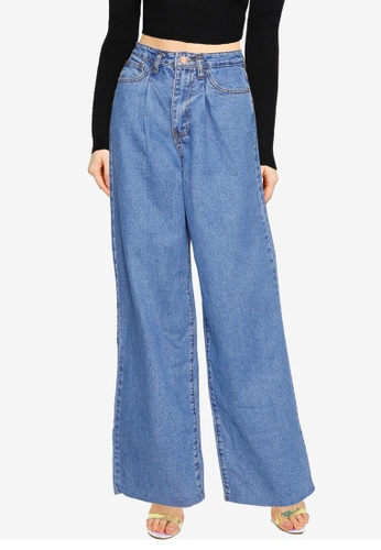 MISSGUIDED blue Pleat Detail Wide Leg Jeans 7CA18AA369AB8BGS_1
