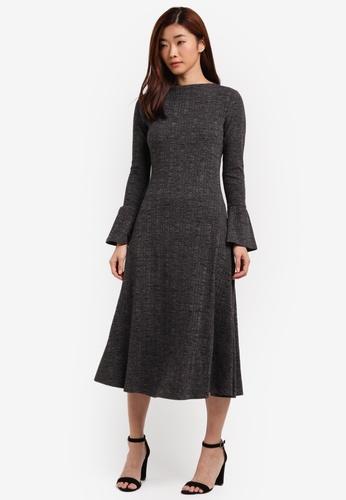 ZALORA grey Fluted Cuffs Knitted Dress 6828BAAC640361GS_1