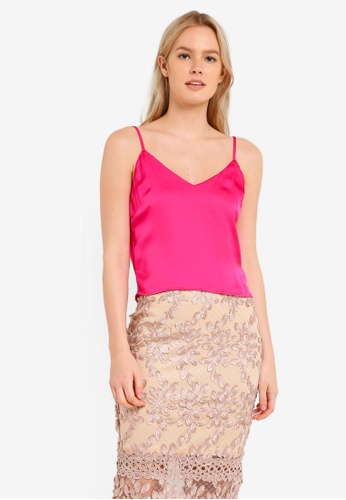 MISSGUIDED pink Pink Satin Cowl Back V Neck Cami Top MI511AA0RKA0MY_1