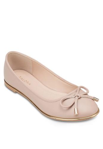 金屬邊飾蝴蝶結平底鞋, zalora鞋女鞋, 鞋