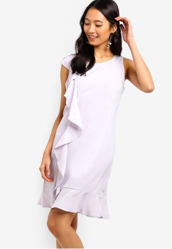 ZALORA purple Ruffles Drop Hem Dress E781AAA42F91DFGS_1