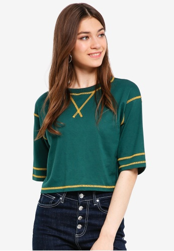 Something Borrowed green Contrast Stitching Oversized Tee 9EB41AACDE9724GS_1