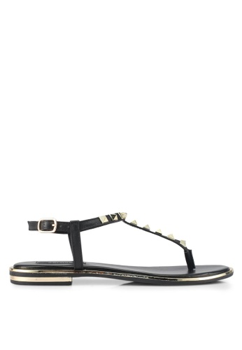 ZALORA black Studded T Strap Sandals 60859SH2D5AF6DGS_1