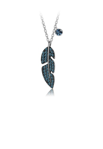 Glamorousky green 925 Sterling Silver Simple and Fashion Feather Pendant with Green Austrian Element Crystal and Necklace 96C59AC9A214DAGS_1